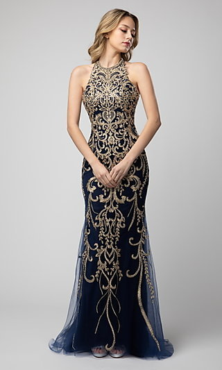 Embroidered High-Neck Shail K Prom Dress