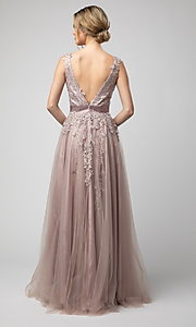 Image of Shail K long v-neck prom dress with embroidery. Style: SK-950 Back Image