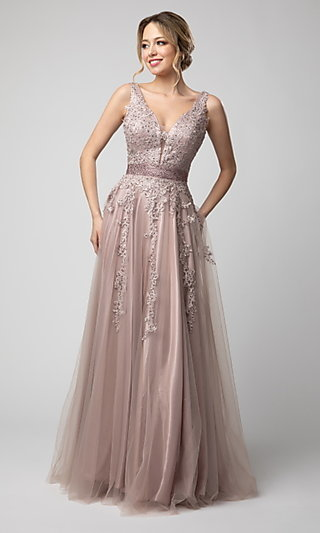 Shail K Long V-Neck Prom Dress with Embroidery