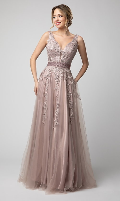 Image of Shail K long v-neck prom dress with embroidery. Style: SK-950 Detail Image 1