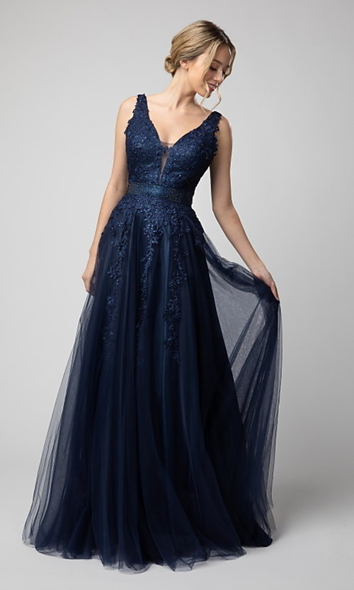 Image of Shail K long v-neck prom dress with embroidery. Style: SK-950 Front Image