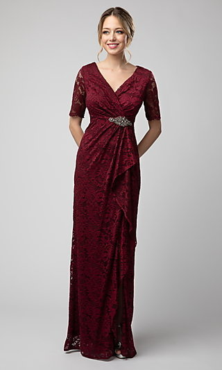 Long Lace Mother-of-the-Bride Dress with Sleeves