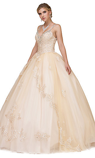 Long V-Neck Quinceanera Ball Gown