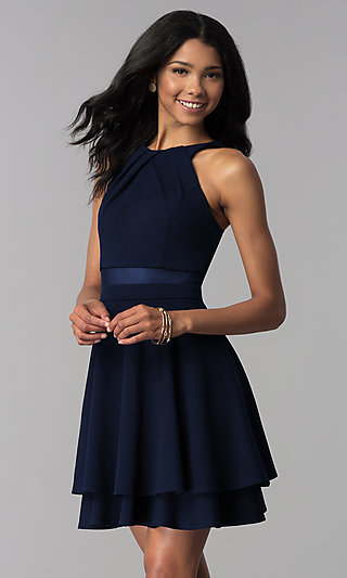 Navy Short Illusion Party Dress