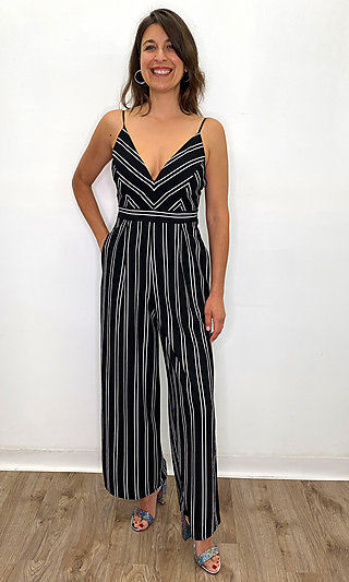 Black and Ivory Stripped Jumpsuit