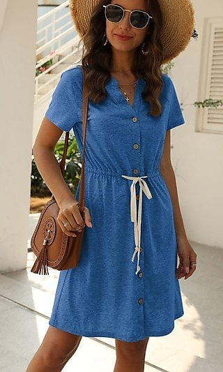 Blue Tie Waist Casual Dress