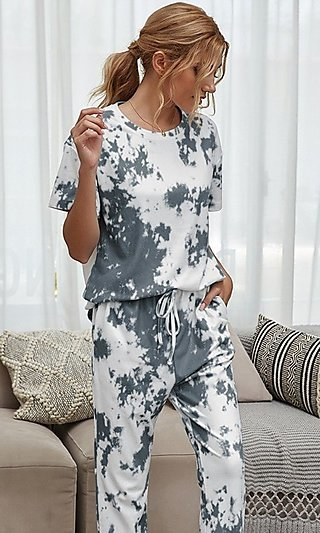Gray Tie Dye Loungewear Set