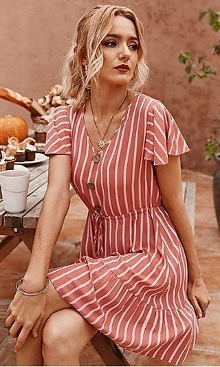 Short Striped Casual Dress with Flutter Cap Sleeves