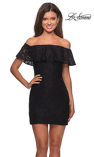 Short Lace Off Shoulder Party Dress