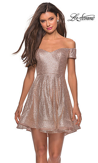 Off Shoulder Sequin Homecoming Dress