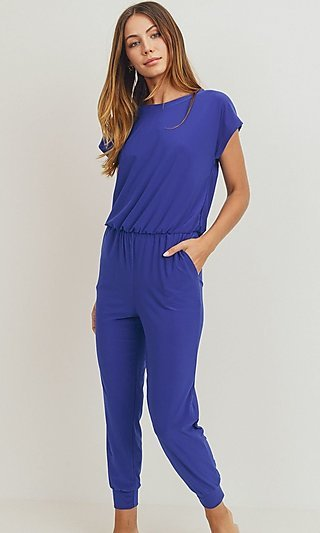 Short Sleeve Jumpsuit with Pockets