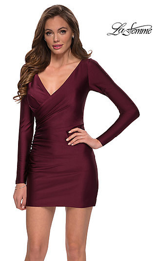 Long Sleeve Short Party Dress