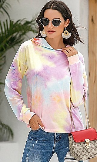 Purple Tie Dye Long Sleeve Hoodie Top