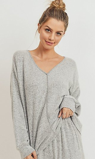 Heather Gray Long Sleeve V-Neck Shirt