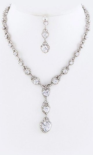 CZ Drop Hearts Earrings and Necklace Set
