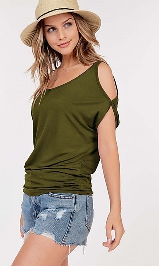 Cold-Shoulder Short Sleeve Basic Top
