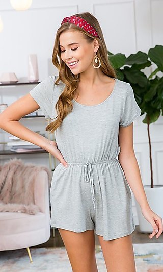 Heather Gray Short Sleeve Jersey Romper