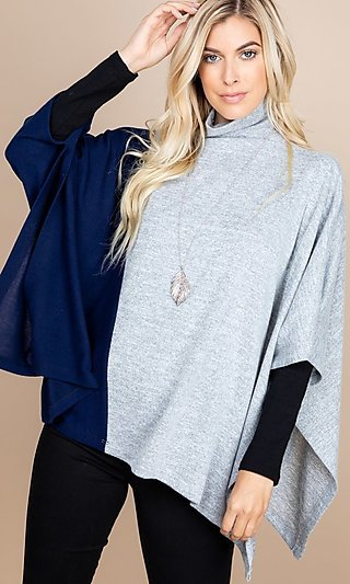 Gray and Navy Color-Block Mock-Neck Poncho