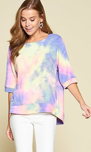 Blue & Pink Tie Dye High-Low Top with 3/4 Sleeves