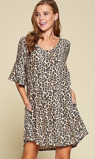 Leopard Print Bell-Sleeve Tunic Dress