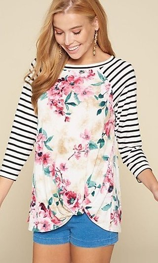 Casual Floral Print & Striped 3/4 Sleeve Shirt