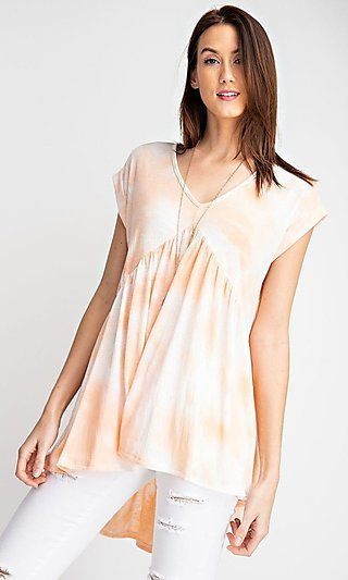 Loose Fitting Casual Tie-Dye High-Low Shirt