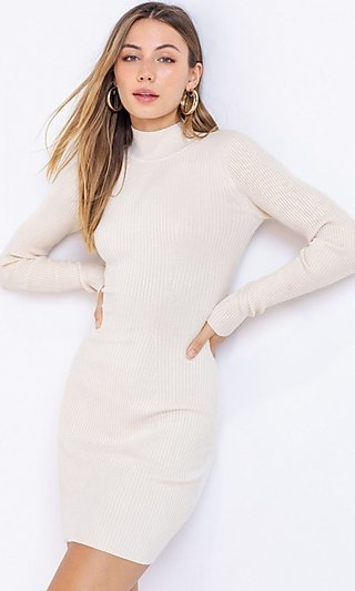Long Sleeve Cream Off White Ribbed Sweater Dress