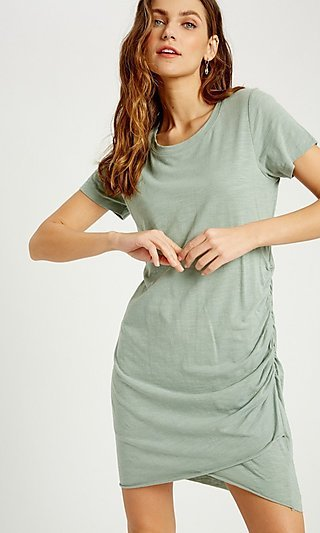 Casual Short Sleeve Cotton Relaxed Fit Dress