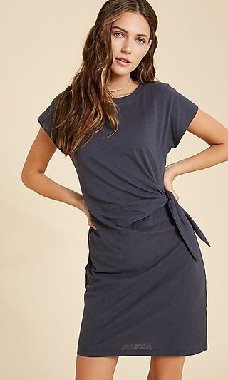 Casual Short Side-Tie Cotton Dress