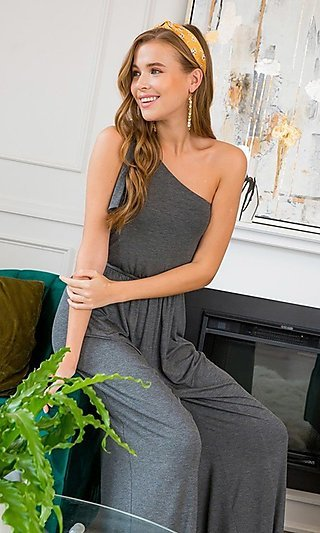 One-Shoulder Wide-Leg Jumpsuit with Pockets