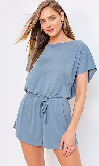 Dusty Blue Casual Drawstring Romper