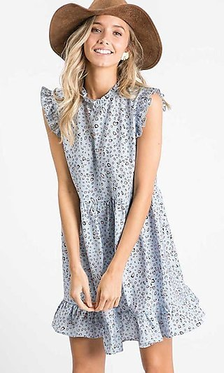 Cute Shirred-Ruffle Print Casual Short Dress