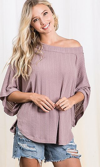 3/4 Dolman Sleeve Ribbed Knit Shirt
