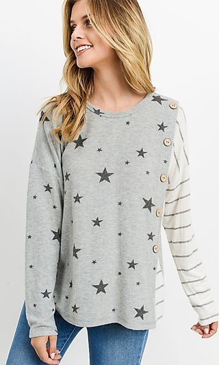 Long Sleeve Star & Striped Shirt
