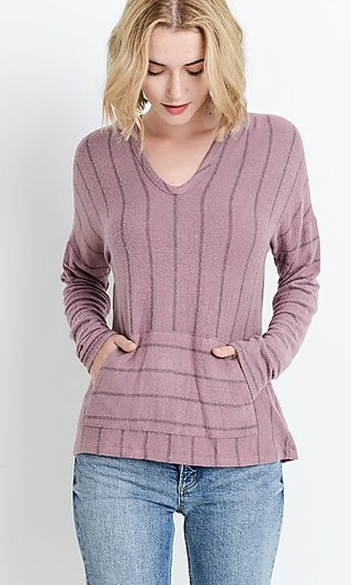 Mauve Pink Striped Long Sleeve Hoodie Top
