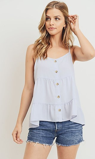 Light Blue Cami Shirt with Buttons