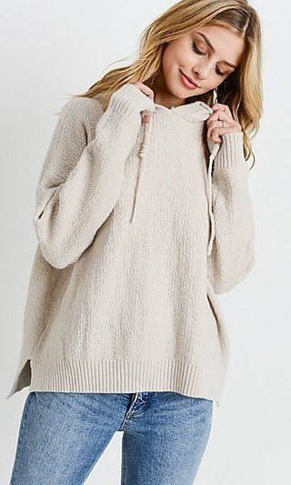 Ivory Knit Textured Hooded Sweater