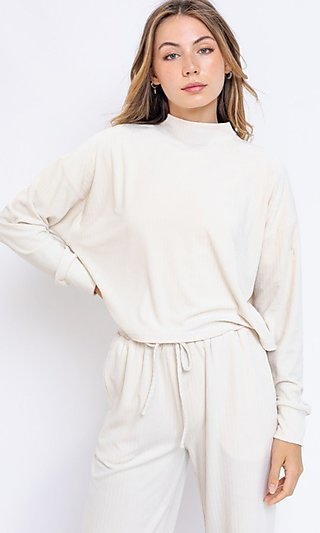 Ivory High-Neck Ribbed Shirt with Long Sleeves