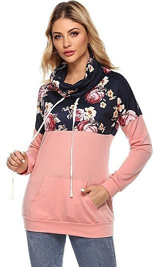 Mock Neck Pullover Sweatshirt with Floral Print