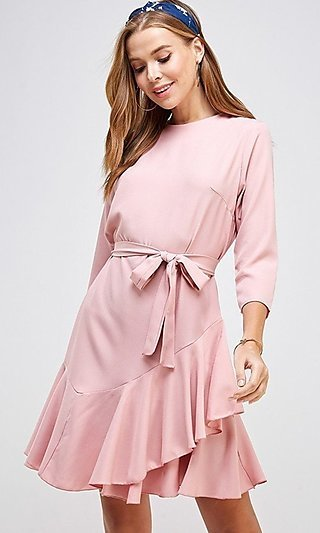 3/4 Sleeve Ruffled Front-Tie Casual Dress