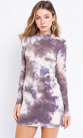 Mock-Neck Long Sleeve Casual Tie Dye Dress