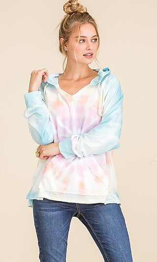 Tie Dye Soft Loose Fitting Pullover Hoodie