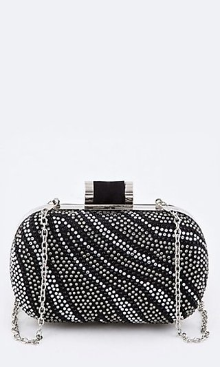 Crystal Zebra Box Clutch with Shoulder Chain