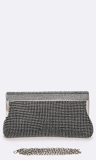 Mesh Soft Clutch Bag with Crystals