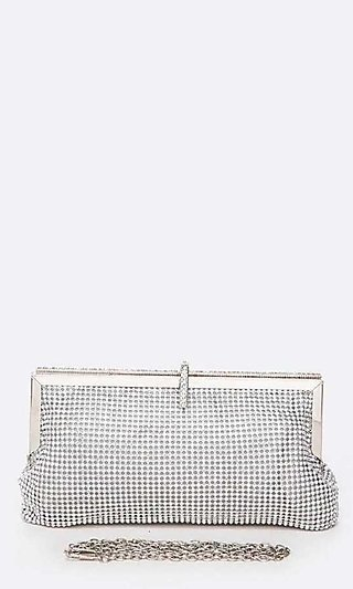 Soft Rhinestone Clutch with Shoulder Chain