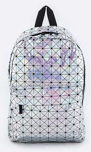 Geo-Print Silver Holographic Backpack