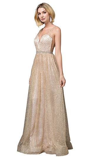 Glitter Metallic A-Line Low V-Neck Long Prom Dress