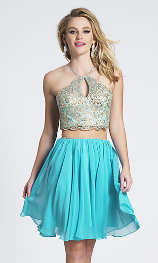 Embroidered Two-Piece A-Line Short Prom Dress
