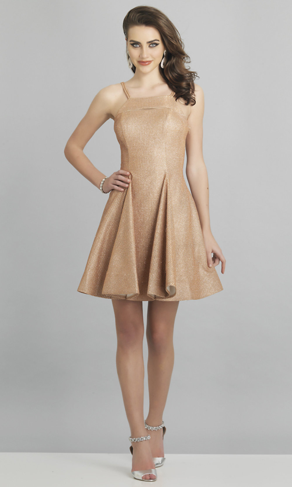 Short Fit And Flare Rose Gold Metallic Glitter Dress