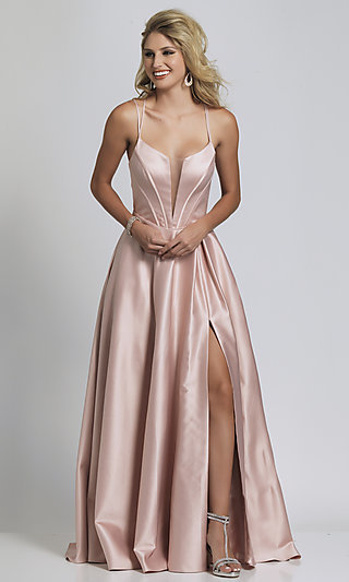 Plunging V-Neck Statement-Back Ball Gown for Prom